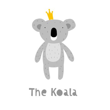Koala Character Staying with Crown. An Animal in Cute Trendy Modern Cartoon Childish Style. Perfect for Print, Web, App or Any Digital Design Manipulation. Stock Illustratie
