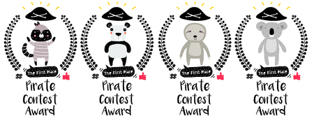 Series of Cute Funny Award Badges with Animals for Childrens Contest. Interactive Pin or Princess Badge in a Comic Cute Trendy Style with a Palm Branch, Pirate Hat, Thumb up, Hash and Dialog Bubble.
