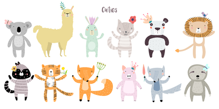 Llama, Lion, Tiger, Wolf, Panda, Cat, Bunny, Pig, Fox, Sloth, Koala, Raccoon Staying Together with Flowers. Animals in Cute Trendy Modern Cartoon Childish Style. Perfect for Print, Web, App etc