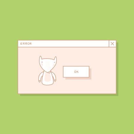 A Pop-up Screen with an Error Message. Hand Drawn Fox Style Vector Design Illustration Иллюстрация