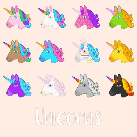 Set of Outline Vector Unicorn Icons Isolated on Peach Background. Head Portrait Horse Sticker, Patch Badge, Emoji. Cute Magic Cartoon Fantasy Cute Animal. Rainbow Hair. Dream Symbol. Design for kids