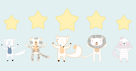 Five Stars Rating Outline Style Concept. Animals with Stars. Customer Review or Feedback Consumer Evaluation, Satisfaction Level and Critic Icons for Service or Product Иллюстрация