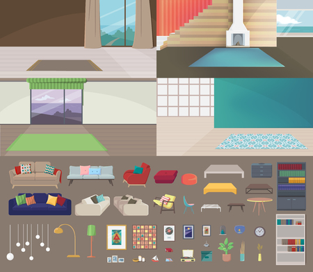 Set of Interiors with no Furniture. Empty Living Room. Elements such as Carpet, Table, Lamp, Picture, Shelve, Book, Vinyl Player, Window, Draperies, Curtain, Pillow, Chimney, Armchair, Tank, Tea Table Illustration