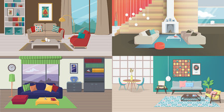 Set of Interiors with Furniture. Living Rooms with Carpet, Table, Lamp, Picture, Shelve, Book, Vinyl Player, Window, Draperies, Curtain, Pillow, Chimney, Armchair, Tank, Tea Table. Vector Illustration