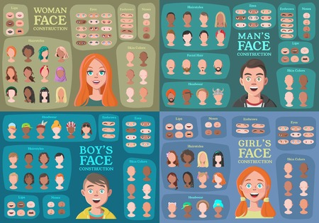 Woman, Man, Girl, Boy Character Constructors. From Housewife to Hipster. Cartoon Woman Face Parts Creation Spare Parts. Cartoon Style Faces. Body Part. Vector Illustration