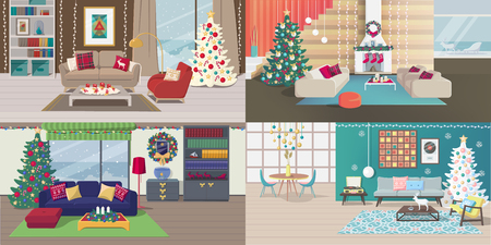Set of Christmas Interiors with Furniture. New Year Holiday Rooms with Carpet, Table, Lamp, Picture, Shelve, Book, Vinyl Player, Window, Draperies, Curtain, Pillow, Chimney, Armchair, Tank, Tea Table Illustration