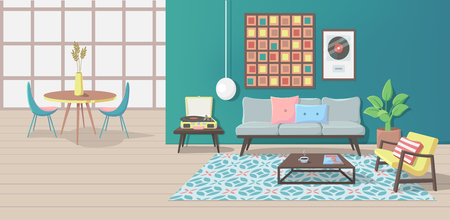 Furniture. Interior. Living Room with a Couch, Table, Lamp, Picture, Pillows, Magazine, Carpet, Vinyl Player, Armchair. Vector illustration Иллюстрация