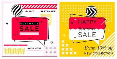 Set of Trendy Abstract Geometric Vector Bubbles. Ultimate Sale and Happy Summer Sale. Vivid Banner in Retro Poster Design Style. Vintage Colors and Shapes in Memphis Style
