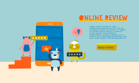 Web or Landing Page Design Concept with Online Review Theme. Animal Characters as Office People are Leaving Stars as a Feedback, Rating. Thumb up, Idea Lamp, and Stars Icons. Mobile App, Website