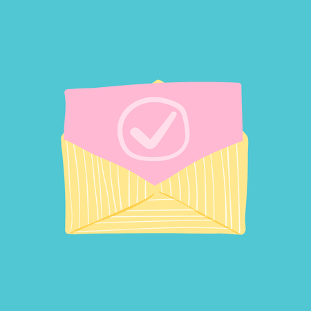 Opened Envelope and Pink Document with Check Mark Icon. Official Confirmation Message, Mail Sent successfully, Email Delivery, Verification or Registration Email. Hand Drawn Childish Design