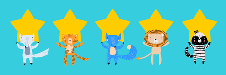 Five Stars Rating Flat Style Concept. Animals with Stars. Customer Review or Feedback Consumer Evaluation, Satisfaction Level and Critic Icons for Service or Product