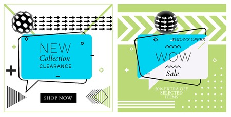 Set of Trendy Abstract Geometric Vector Bubbles. New Collection and WOW Sale. Vivid Banner in Retro Poster Design Style. Vintage Colors and Shapes in Memphis Style