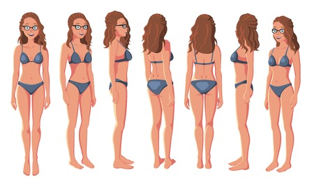 Vector Illustration of Smiling Women in Bikini and Glasses on a White Background. Cartoon Realistic Girls Set. Flat Young Lady. Front View Woman. Side View Woman. Back Side View Woman. Seven Positions