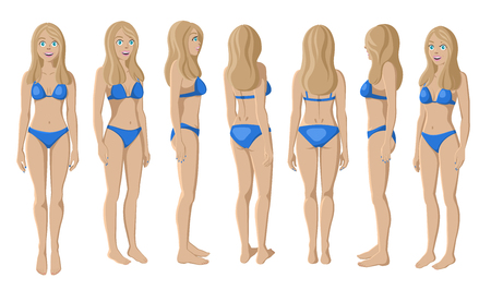 Vector Illustration of Smiling Women in Bikini on a White Background. Cartoon Realistic Girls Set. Flat Young Lady. Front View Woman. Side View Woman. Back Side View Woman. Seven Positions