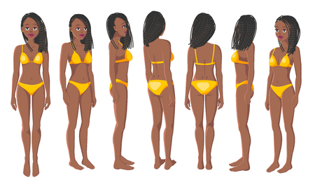 Vector Illustration of Smiling Black Women in Yellow Bikini on a White Background. Cartoon Realistic Girls Set. Flat Young Lady. Front View Woman. Side View Woman. Back Side View Woman. Seven Positions Vector Illustratie