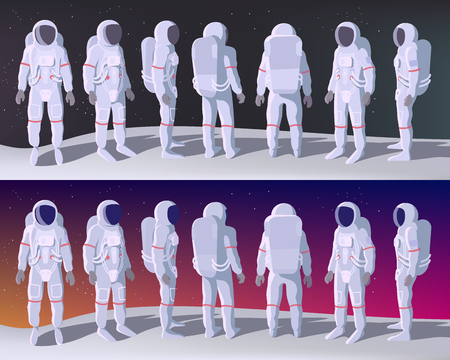 Astronaut in verschiedenen Positionen steht auf dem Mond mit Raum dahinter. Cartoon oder flache Vektorillustration