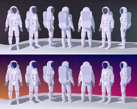 Astronauta en diferentes posiciones se encuentra en la luna con espacio detrás. Ilustración de dibujos animados o Vector plano