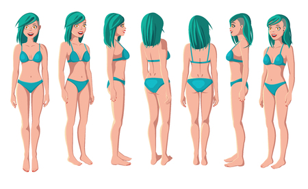 Vector Illustration of Smiling Women in Green Bikini on a White Background. Cartoon Realistic Girls Set. Flat Young Lady. Front View Woman. Side View Woman. Back Side View Woman. Seven Positions 矢量图像