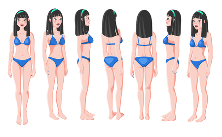 Vector Illustration of Smiling Asian Women in Bikini on a White Background. Cartoon Realistic Girls Set. Flat Young Lady. Front View Woman. Side View Woman. Back Side View Woman. Seven Positions