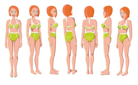 Vector Illustration of Redhead Women in Green Swimming Suit on a White Background. Cartoon Girls Set. Flat Young Lady. Front View Woman. Side View Woman. Back Side View Woman. Seven Positions