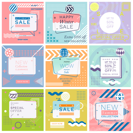 Modern Promotion Square Web Banners for Social Media Mobile Apps. Elegant Sale and Discount Promo Backgrounds with Abstract Pattern in Memphis Style. Email Ad Newsletter Layouts.