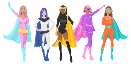 Vector Set Of Five Different Female Superheroes with Masks and Cloaks. Characters for Personal Branding or Social Media Campaign Illustration