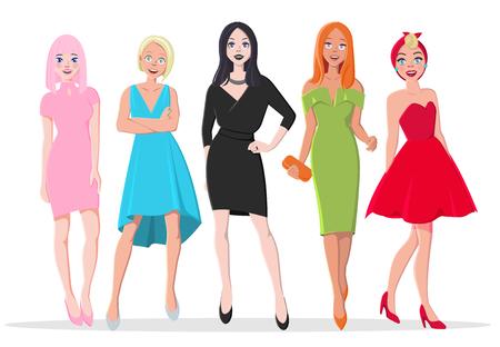 Hermosa asiática con cabello rosado, rubia, morena, pelirroja y chicas pinup. Industria de la belleza de la moda. Mujeres calientes en vestidos de noche de color rosa, azul, negro, verde y rojo. Cóctel o Evento Importante.