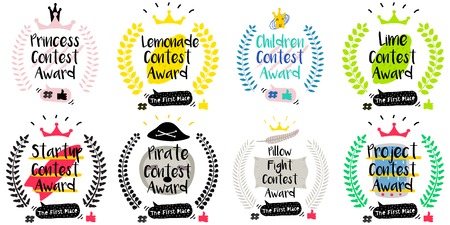 Series of Cute Funny Award Badges for Childrens Contest. Interactive Pin or Princess Badge in a Comic Cute Trendy Style with a Palm Branch, Crown, Thumb up, Hash and Dialog Bubble.