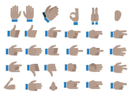 Set of Black Hands Emojis and Icons. Symbols and Signs. Different Hands, Gestures, Signals and Signs. Vector Illustration