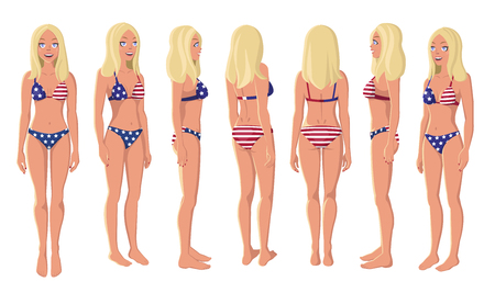 Vector Illustration of Blonde Girl in American Flag Swimming Suit on a White Background. Cartoon Girls Set. Flat Young Lady. Front View Woman. Side View Woman. Back Side View Woman. Seven Positions