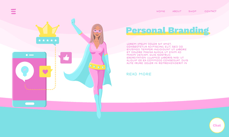 Web Page Template for Personal Branding, Business Communication, Consulting, Planning. Landing Page Layout. Superhero Character Standing with Social Media Signs. Web Banner, Mobile App Illustration