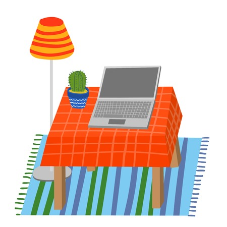 Laptop and Cactus on a Table. Illustration of Interior Parts in Hand Drawn Childish Style. Decorative Elements for Print or Digital. Cactus in a Pot, Laptop, Rug, Lamp. Table with a Tablecloth. Ilustrace