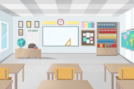 Empty School Class Room with Board Desk, Shelf, Books, Clock. Modern Vector Illustration of School Interior.