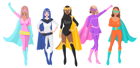 Vector Set Of Five Different Female Superheroes with Masks and Cloaks. Characters for Personal Branding or Social Media Campaign Illusztráció