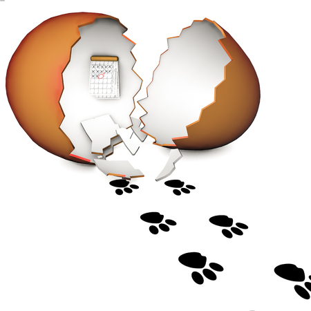 spoor: 3D object with egg and spoor of the Easter bunny