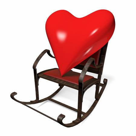 3d heart: 3D heart in a rocking chair