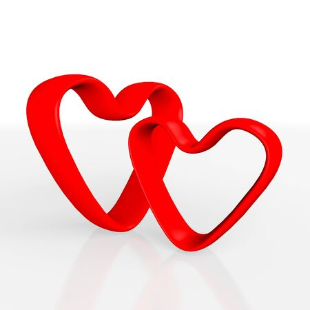 threedimensional: Three-dimensional hearts pair on a white background. Valentines day illustration.