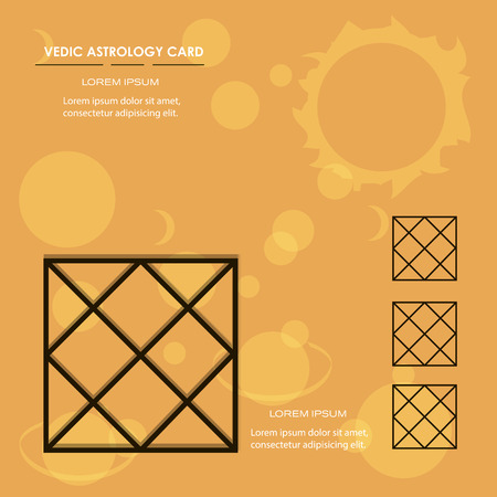 vedic: Vedic astrology and platen background card Illustration