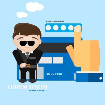 protect concept: Bank card secure and protect concept vector illustration.