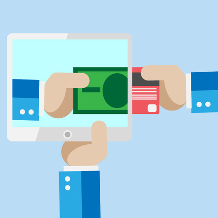 consept: Mobile paymants or mobile market template vector card. Internet banking business consept illustration.