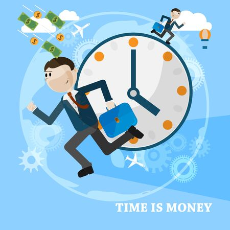 business time: Time is money business concept vector card. Running man over business vector background