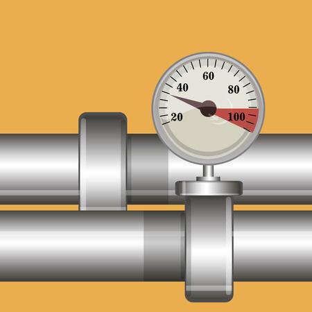 metal pipe: Metal pipe and gauge vector background Illustration