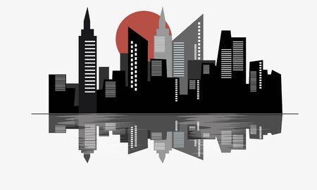 water reflection: City and water reflection vector clipart template.
