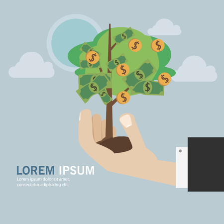 investment protection: Hand with money tree concept business vector card or background