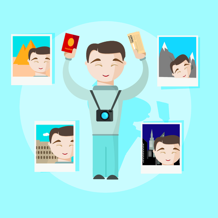 selfy: Happy travel man with passport, selfy photo and tickets vector image