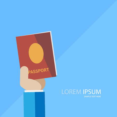 ide: Hand with passport vector image. Can be use for background, poster and banner.