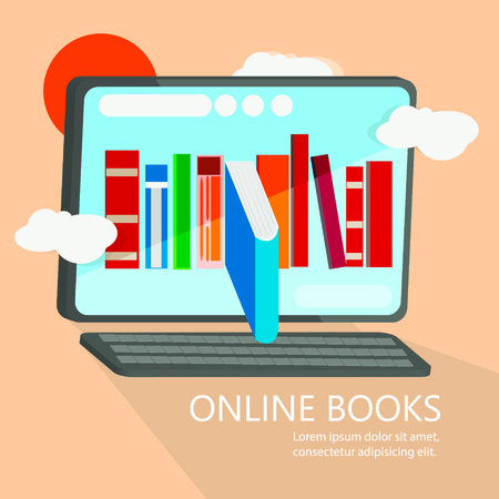 technology symbols metaphors: Online books modern vector image. Can be use for background, banner and poster.