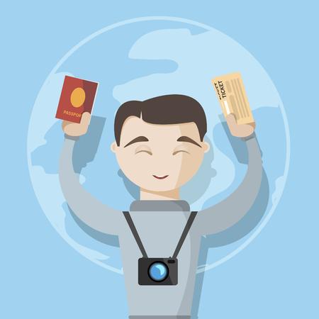 persona feliz: hombre feliz viaje imagen vectorial pasaporte y boletos con