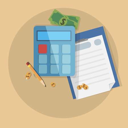 money in pocket: Concept business vector image with money, pocket calculator and paper
