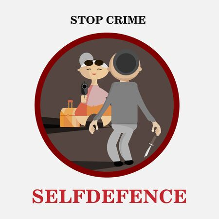 woman with gun: Old woman with a gun and a thief. Selfdefence concept vector image